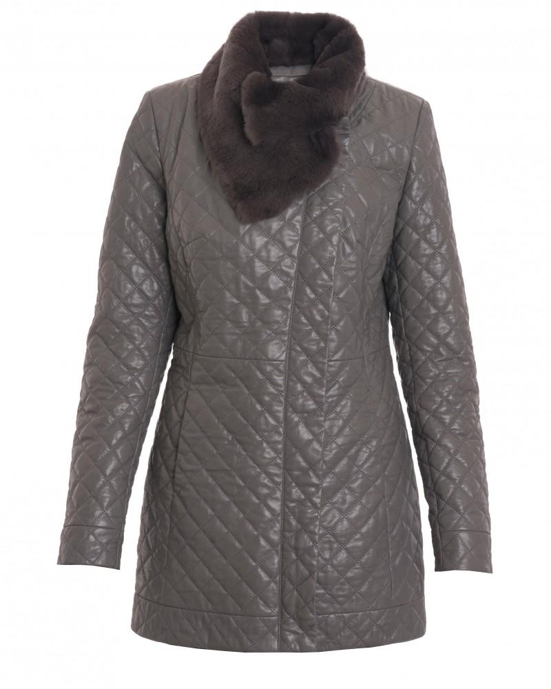 Pikowany płaszcz skórzany
